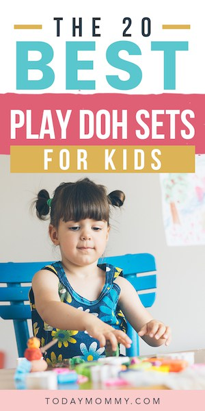 child playing with play doh with the text best play doh sets for kids